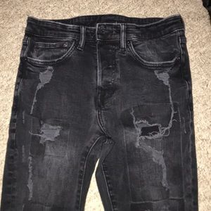H&M skinny button fly distressed jeans